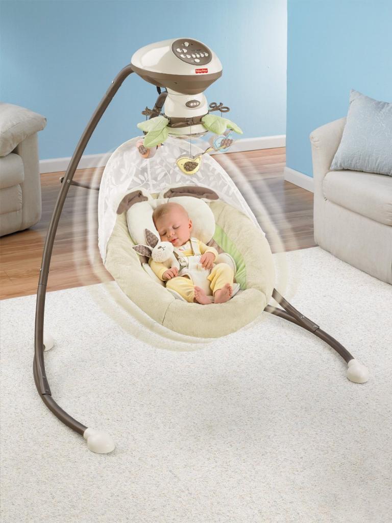 Amazon.com : Fisher-Price Snugabunny Cradle 'N Swing with Smart Swing Technology : Baby