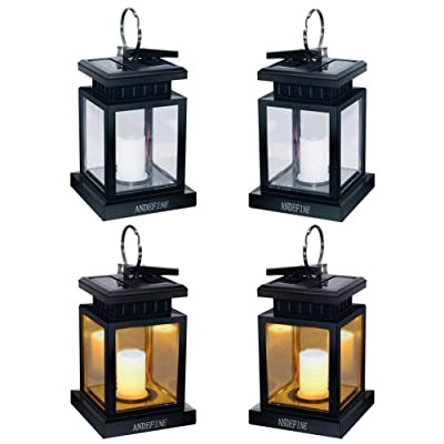 Solar Lights Outdoor Hanging Lanterns, ANDEFINE Solar Lanterns Outdoor Waterproof Led Umbrella Lights Candle Lamps Hang on Patio Umbrella Shepherd's Hooks Tree Garden (Yellow Light, 4 Pack)