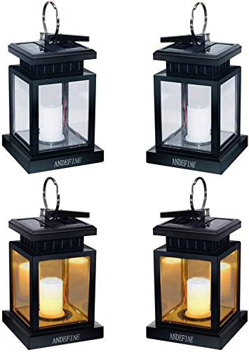 Solar Lights Outdoor Hanging Lanterns, ANDEFINE Solar Lanterns Outdoor Waterproof Led Umbrella Lights Candle Lamps Hang on Patio Umbrella Shepherd s Hooks Tree Yellow Light, 4 Pack