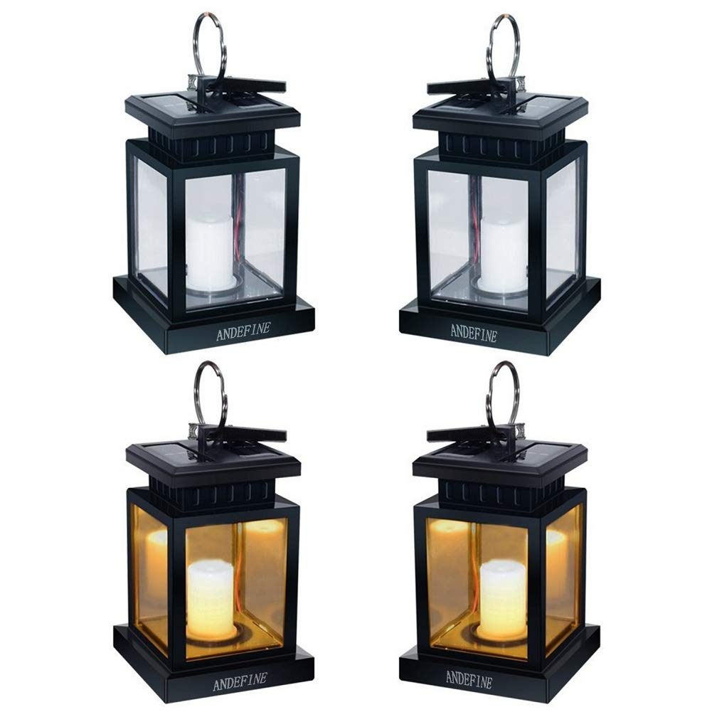 Solar Lights Outdoor Hanging Lanterns, ANDEFINE Solar Lanterns Outdoor Waterproof Led Umbrella Lights Candle Lamps Hang on Patio Umbrella Shepherd's Hooks Tree Garden (Yellow Light, 4 Pack) by ANDEFINE