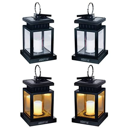 Andefine Hanging Solar Lanterns Hanging Solar Lights Outdoor Umbrella Lights Waterproof Candle Lamps Hang On Trees Patio Landscape Yard Solar Garden