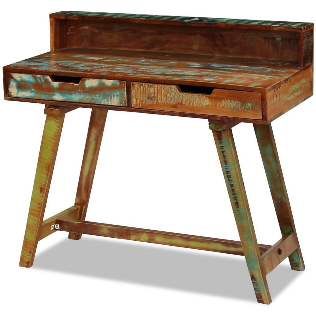 Amazon com handmade rustic reclaimed solid wood writing computer desk home office furniture with 2 drawers kitchen dining