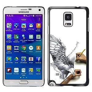 QCASE / Samsung Galaxy Note 4 SM-N910F SM-N910K SM-N910C SM-N910W8 SM-N910U SM-N910 / águila arte dibujo a lápiz 3d mosca grande de aves / Delgado Negro Plástico caso cubierta Shell Armor Funda Case Cover