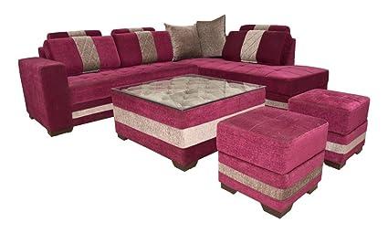 Adlakha Furniture Wooden Pink Coloured L-Shape Sofa Set For ...