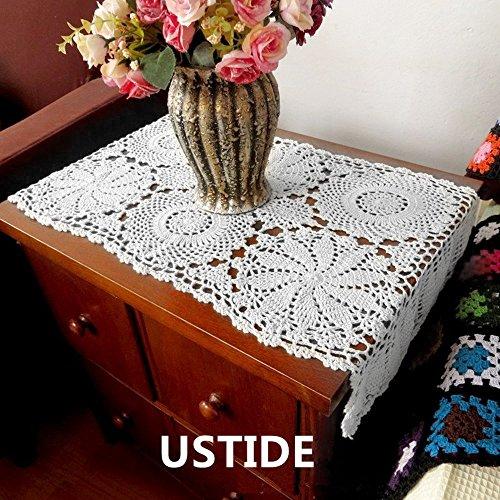 Ustide 2pcs 100%Cotton Crochet Lace Rectangular Table Run...