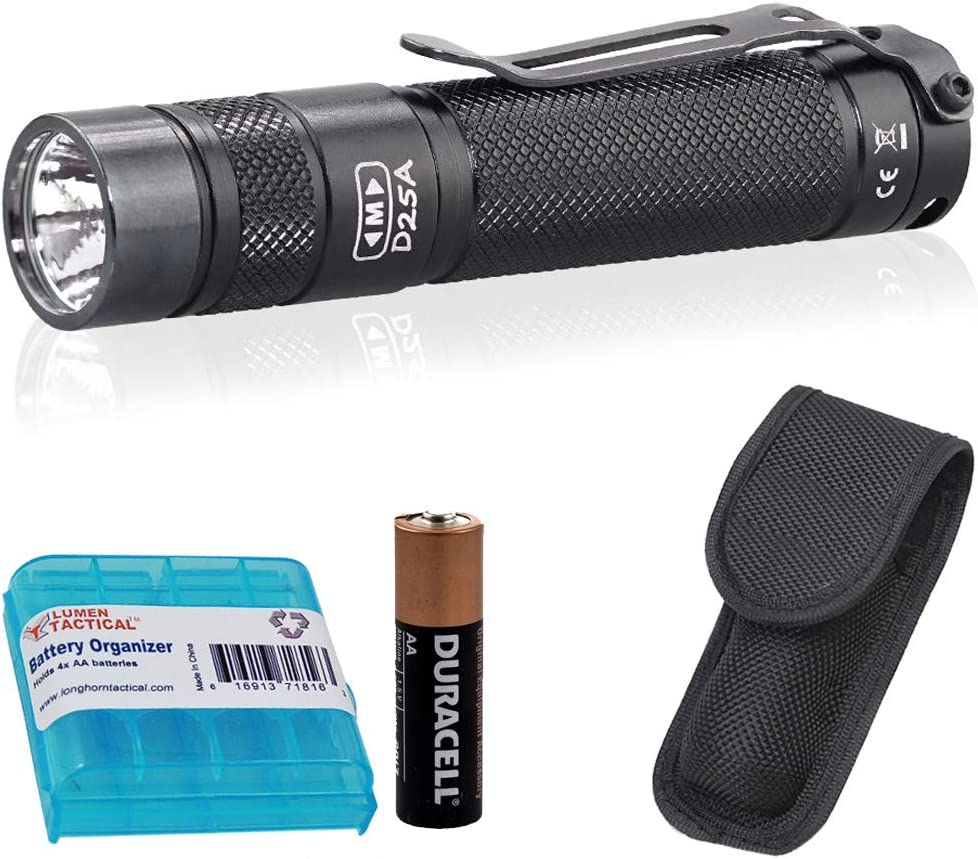 Eagletac D25A Clicky MKII 405 LED Lumen 286 ANSI Lumen EDC Pocket Flashlight with AA Battery and LumenTac Organizer, Cool White