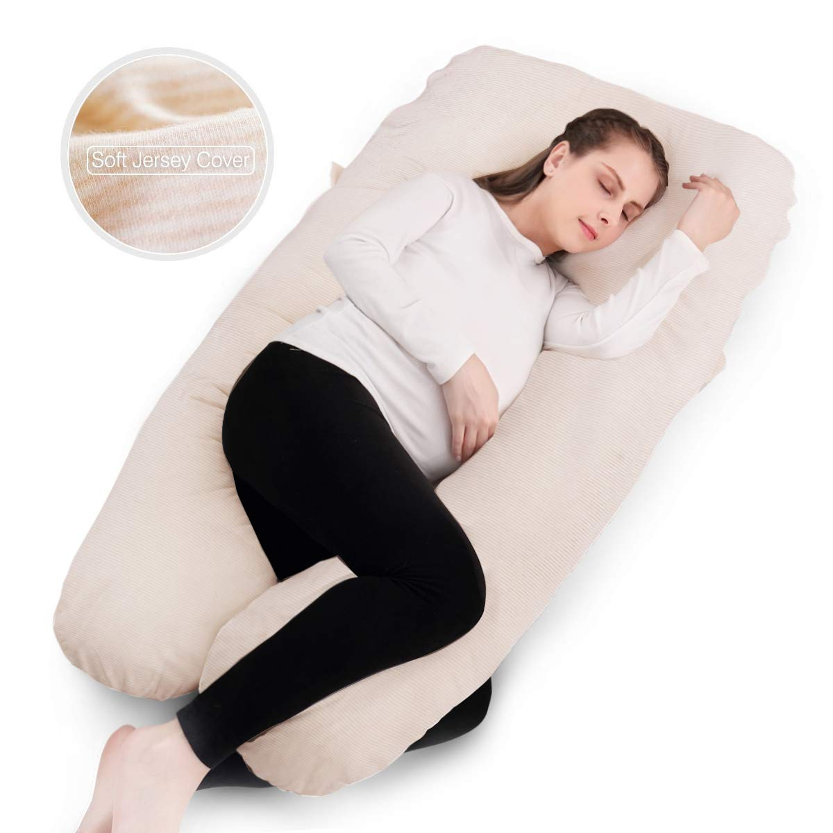 Dream Pregnancy Body Pillow - Maternity Nursing Pillow - with Jersey Washable Cover - U Shaped - for Sleeping and Relieving Back Pain - Creamy Stripe