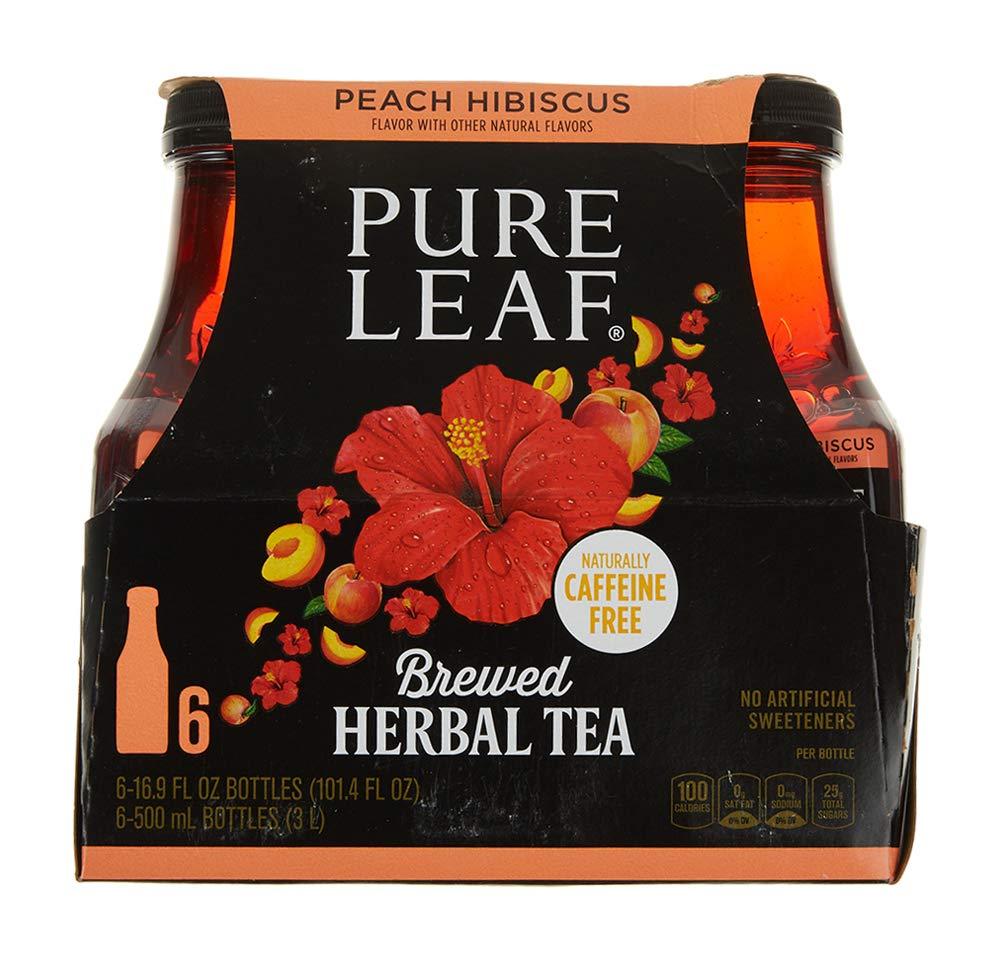 Pure Leaf Herbal Iced Tea, Peach Hibiscus, 16.9 fl oz. Bottles (6 Pack)