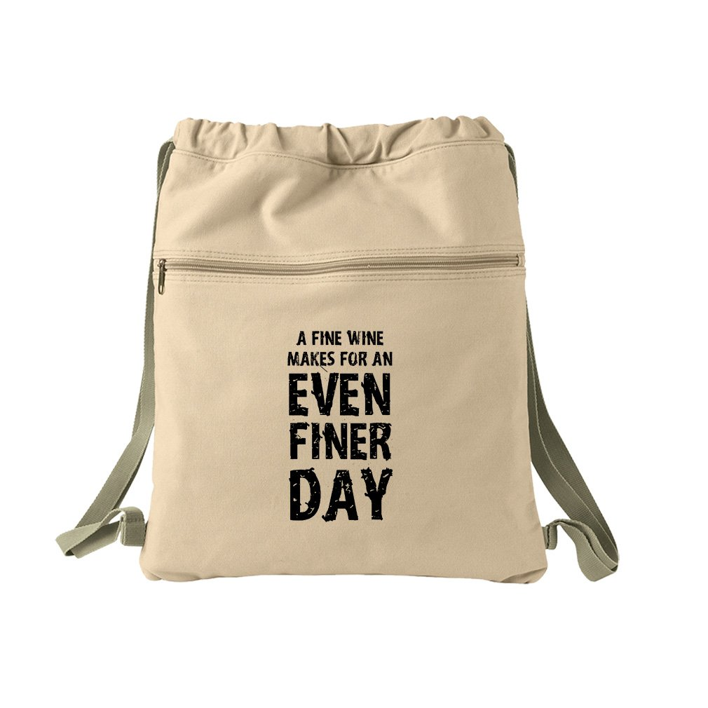 Fine Wine Finer Day Canvas Dyed Sack Backpack Bag by Style in Print (Image #1)