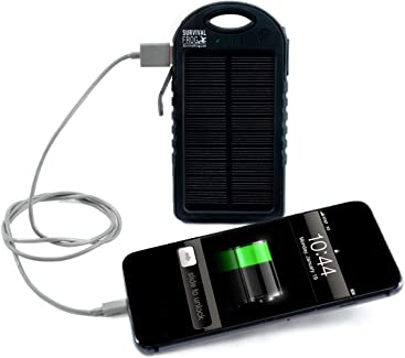 EasyPower 5,000mAh Dual USB Compact Solar Power Bank - 5V Solar Panel Powered Portable Phone
