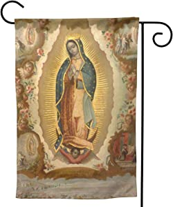 "YISHOW Our Lady of Guadalupe Mother of God Garden Flag Double Sided Vertical Holly Mary Blessed Virgin Mary Religious House Flags Yard Signs Outdoor Decor 12.5""X18"""