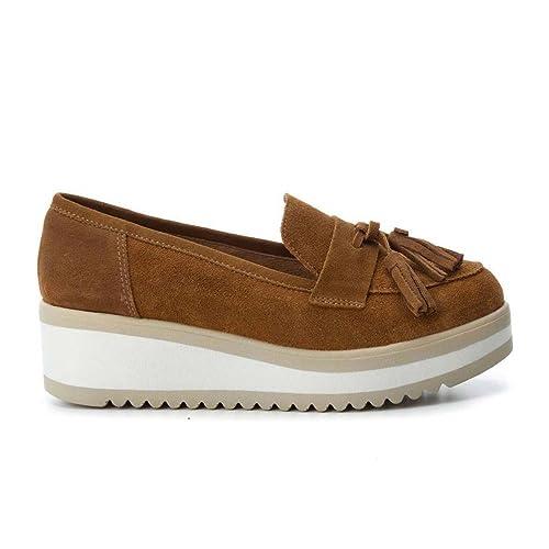 Carmela Zapato de Mujer con Cuña Mocasin Camel: Amazon.es: Zapatos y complementos