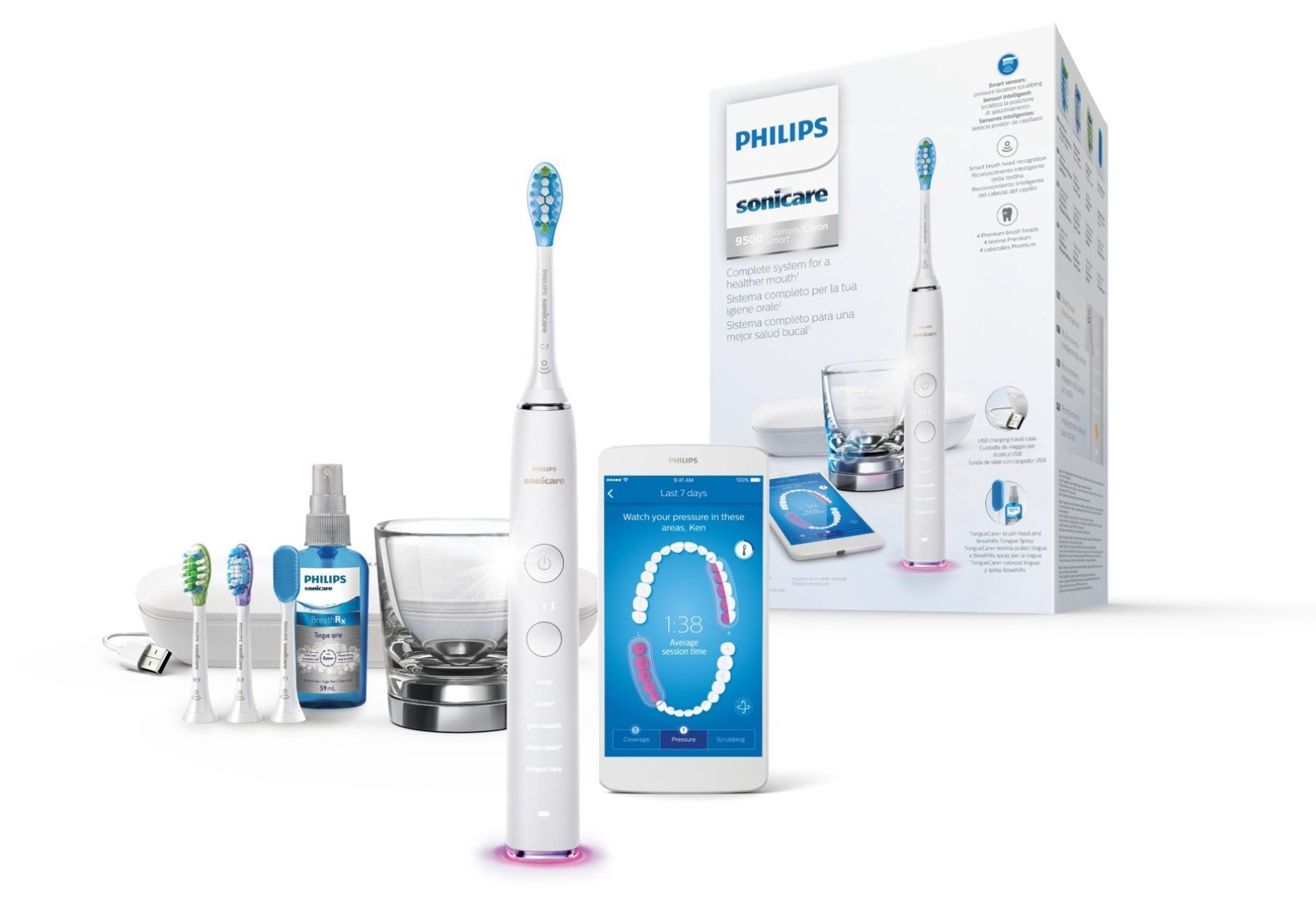 Philips Sonicare Diamond Clean Smart HX9924/03 - Cepillo de dientes con App y cabezales