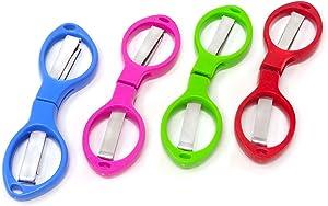 yueton 4pcs Colorful Plastic Handle Folding Safety Scissors