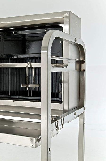 CLP Parrilla en Acero Inoxidable versátil BARNY | Barbacoa con Motor y varios Accesorios | Parrilla de Carbón con Varias Funciones | Superficie de cocción: 101 cm | Peso: 70 kg | Color plateado: Amazon.es: Jardín