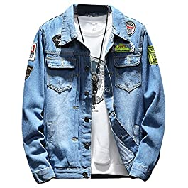 LifeHe Men Denim Jackets Ripped with Patches
