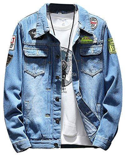 LifeHe Men Denim Jackets Ripped With Patches (Blue, M)