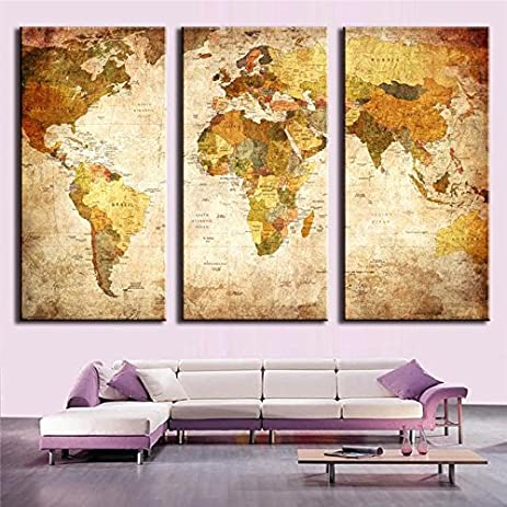 Amazon shuaxin retro style world map canvas art printing map shuaxin retro style world map canvas art printing map print for home and office wall gumiabroncs Gallery