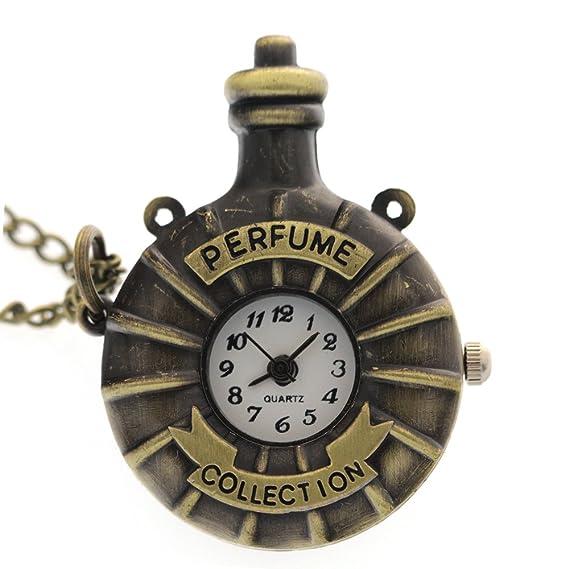 FobTime Cobre Perfume Collection Mini reloj de bolsillo en forma de botella Accesorios Vintage reloj: FobTime: Amazon.es: Relojes