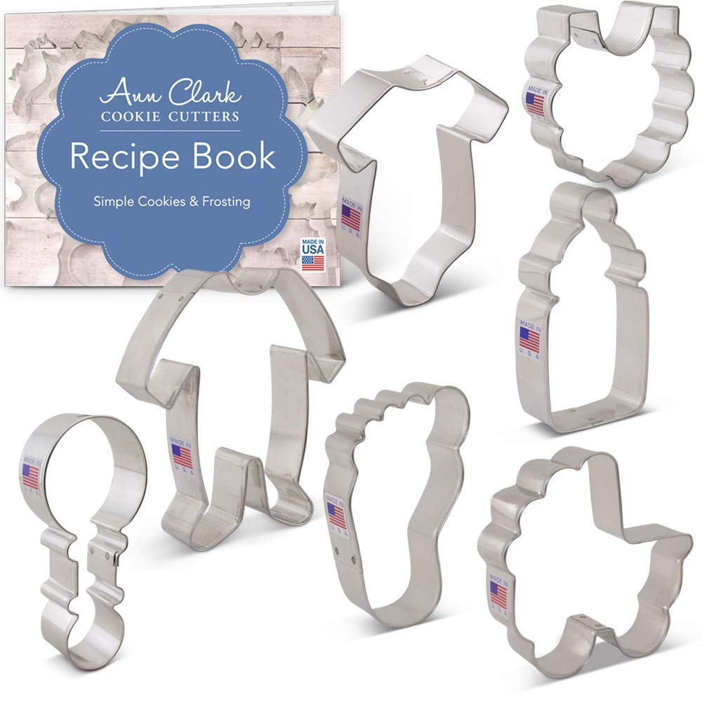 Ann Clark Cookie Cutters 7-Piece Baby Shower Cookie Cutter Set with Recipe Booklet, Onesie, Bib, Rattle, Bottle, Carriage, Foot and Footie PJs