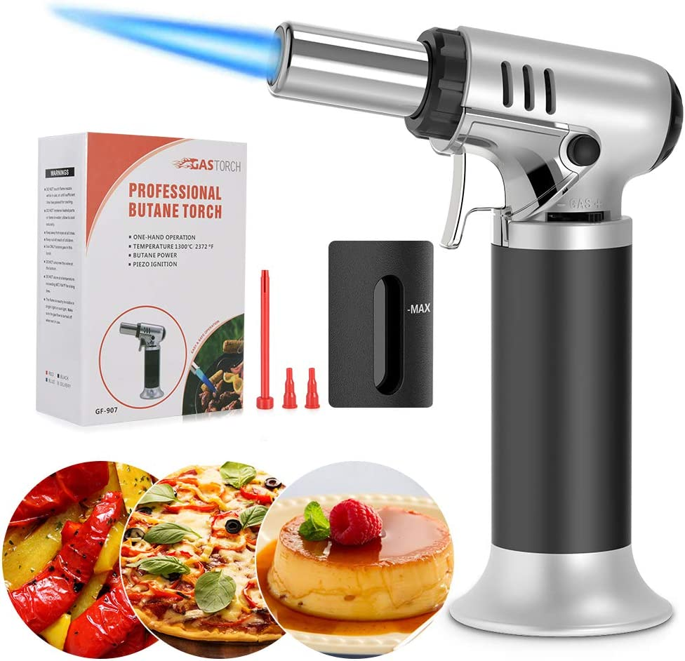 Butane Torch, Yakuin Refillable Cooking torch with Fuel Gauge and Adjustable Flame Mini Culinary Torch Lighters Kitchen Torch for Creme Brulee, Desserts, BBQ, Baking, Crafts (Butane Gas Not Included)