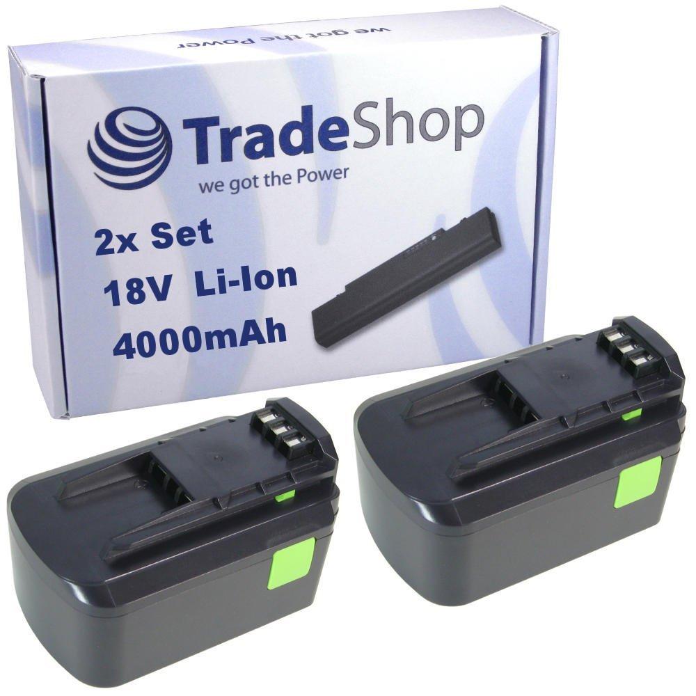 2x Hochleistungs TradeShop Li-Ion Akku Battery 18V / 4000mAh ersetzt Festool Festo 498343 499849 499751 BPC 18 Li für Festool C15 PSC/PSBC 400/420 PSC400 PSC420 PSBC400 PSBC420