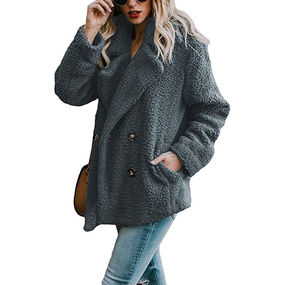 Asskdan Women's Open Front Fuzzy Cardigan Warm Fleece Jacket Coat Long Sleeve Oversized Coat Outwear with Pockets (Dark Grey, L) by Asskdan (Image #2)