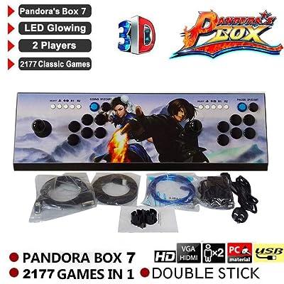 2177 HD Consola de Juegos Arcade Retro - Pandora's Key 7 Consola de Videojuegos Arcade Caja Consola Street Fighter Machine para 2 Jugadores con Doble Joystick Soporte Salida HDMI VGA: Hogar