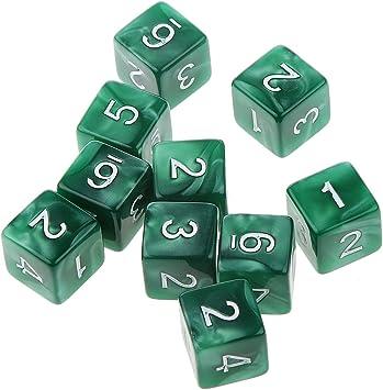 Desconocido 10pcs Juegos de Mesa Dados de Seis Caras D & D TRPG - Verde: Amazon.es: Juguetes y juegos