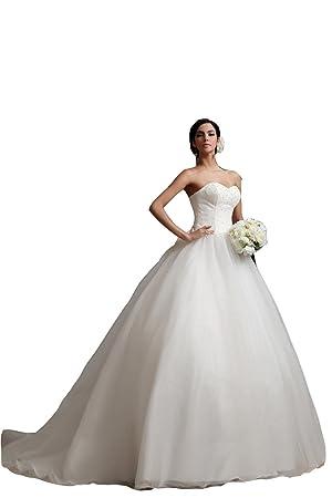 Vestido de novia de organza cariño Moderno (blanco)