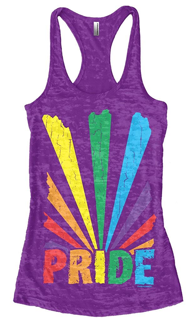 a2316d5f16dd28 Amazon.com  Threadrock Women s Gay Pride Rainbow Sunray Burnout Racerback  Tank Top  Clothing