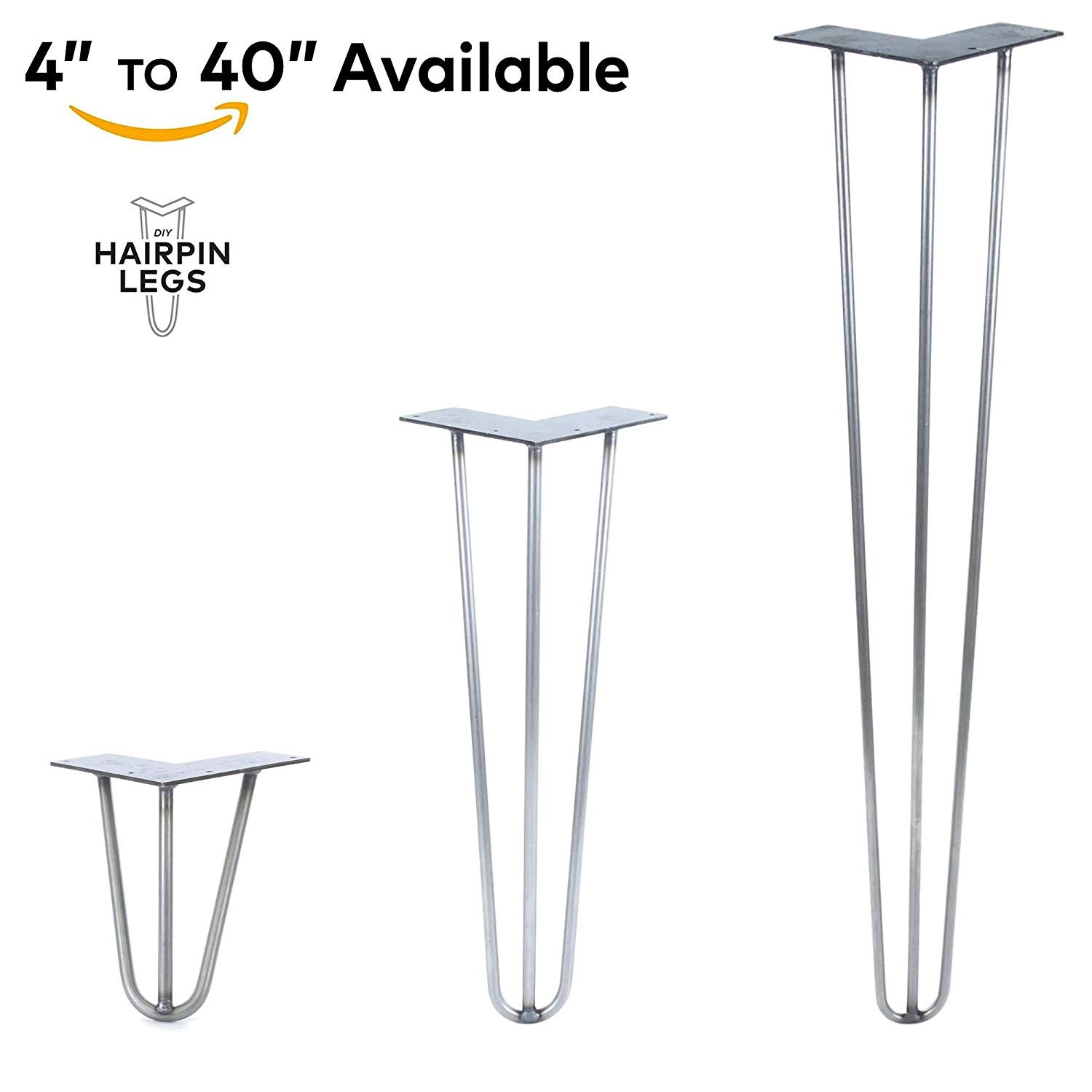 3 Rod Hairpin Legs - Made in The USA - Commerical Grade - Each Leg Sold Separately (27'' Height x 1/2'' Diameter, Jet Black Satin)