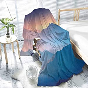 jecycleus Sports Decor Rugged or Durable Camping Blanket Paraglide Flying Over The Majestic Mountains Morning Valley Sunrise Sports Freedom Theme Warm and Washable W80 x L60 Inch Blue Pink