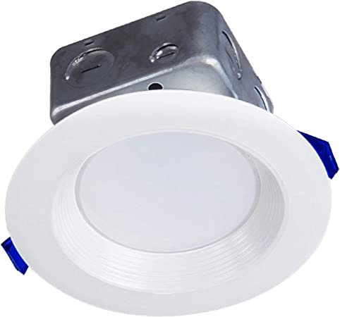 IC Rated 3000K 750Lm Wet Location ETL and Energy Star Listed 75Watt Repl 12 Pack Baffle Trim LED Canless Downlight 10W LUXTER 4 inch LED Ceiling Recessed Downlight With Junction Box Dimmable
