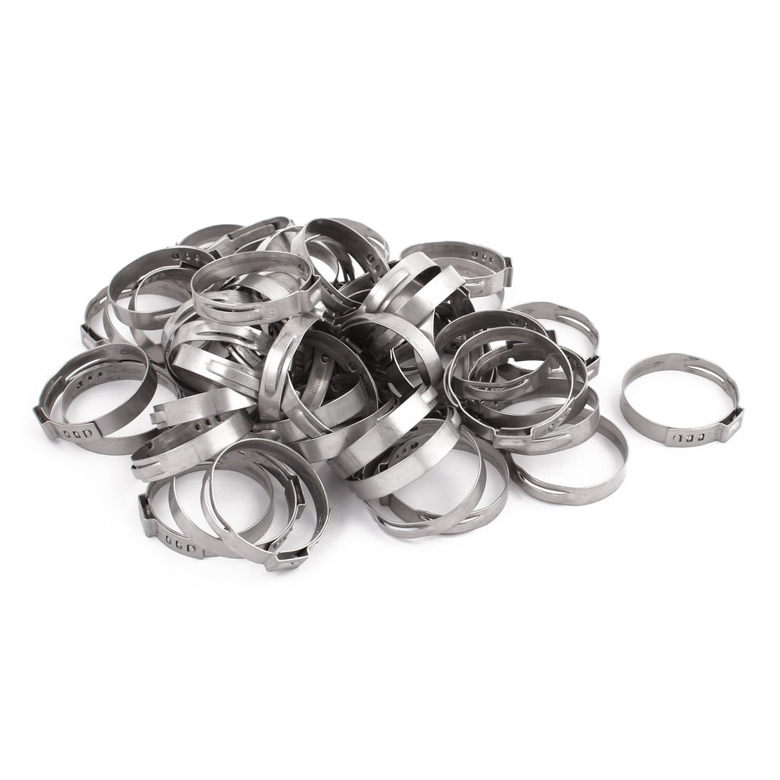 uxcell 31.4mm-34.6mm 304 Stainless Steel Adjustable Tube Hose Clamps Silver Tone 50pcs