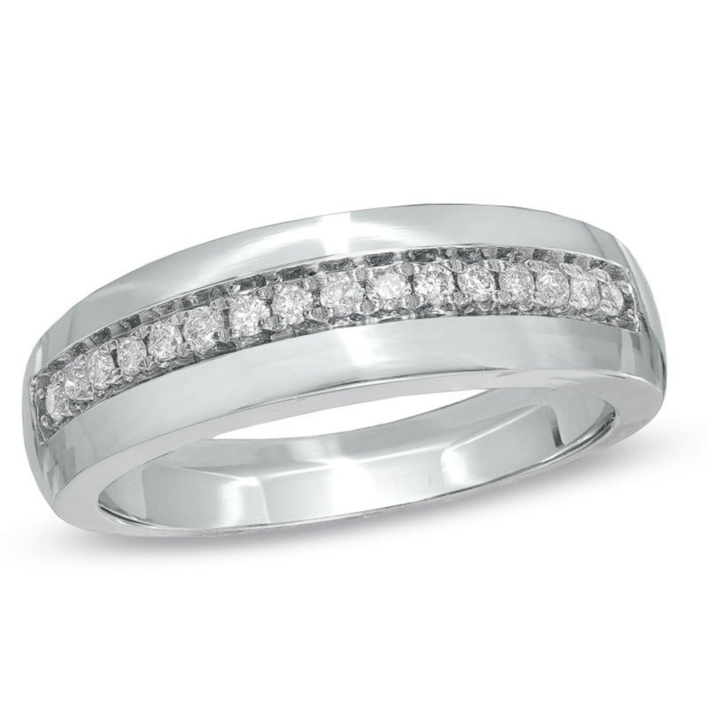 Silvernshine Jewels 0.16 Cts D/VVS1 CZ Ladie's Wedding Band Ring With 14Kt White Gold Finish Silver