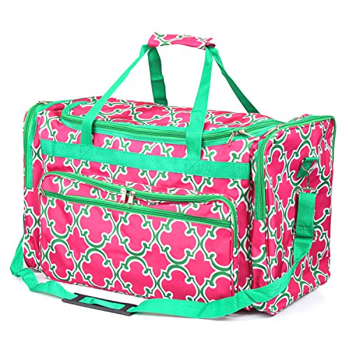 Zodaca Large Duffel Travel Bag, Pink Quatrifoil