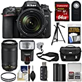 Nikon D7500 Wi-Fi 4K Digital SLR Camera 18-140mm VR & 70-300mm DX AF-P Lens + 64GB Card + Battery + Case + Tripod + Flash + Filters + Kit