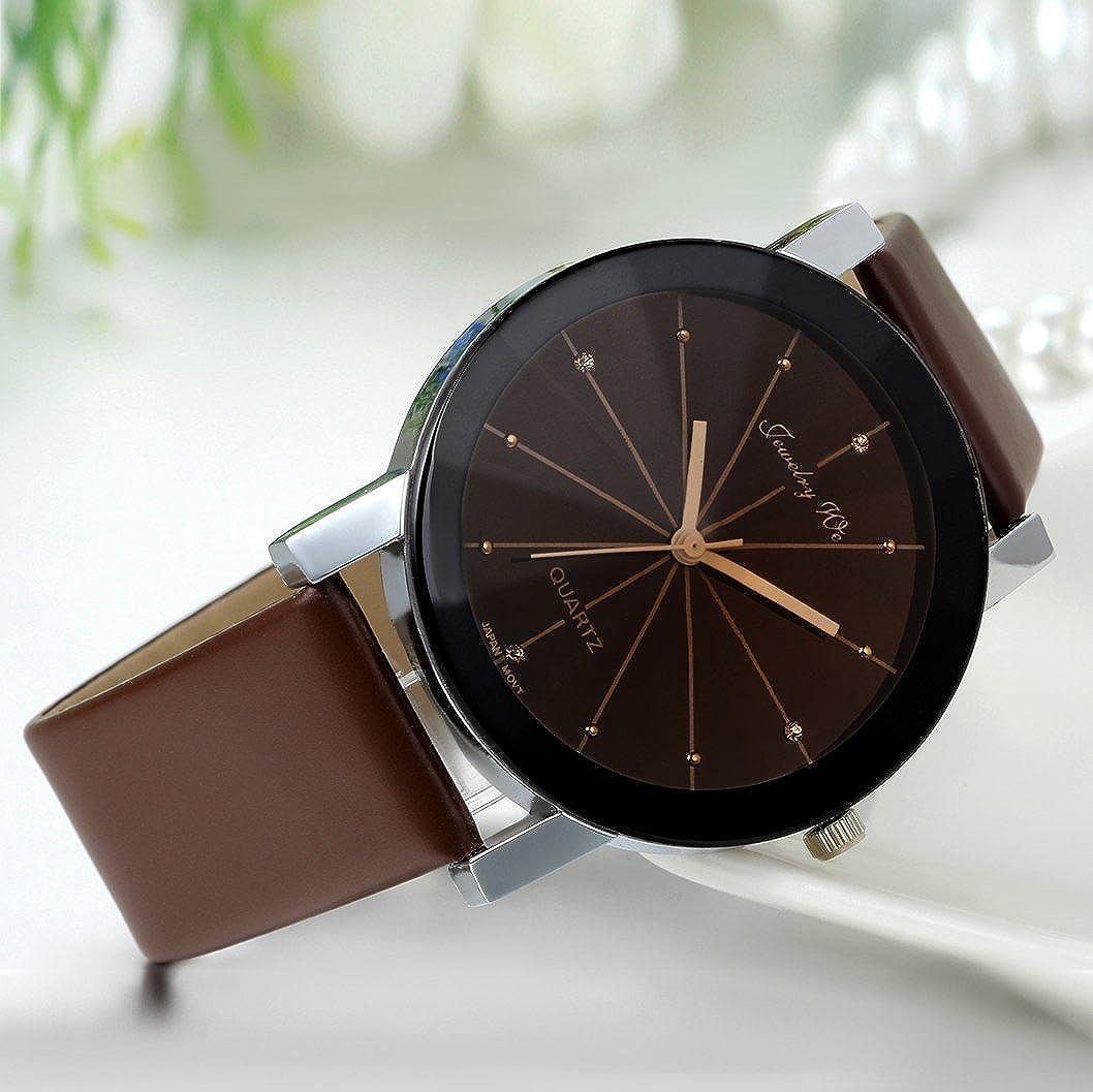 JewelryWe Reloj de Hombre Caballero, Correa de Cuero Marrón Sencillo Casual a Estilo Negocios, Relojes Clásicos de Color Negro: Amazon.es: Relojes