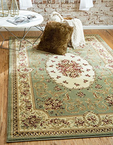 - Unique Loom Versailles Collection Traditional Classic Green Area Rug (3' x 5')