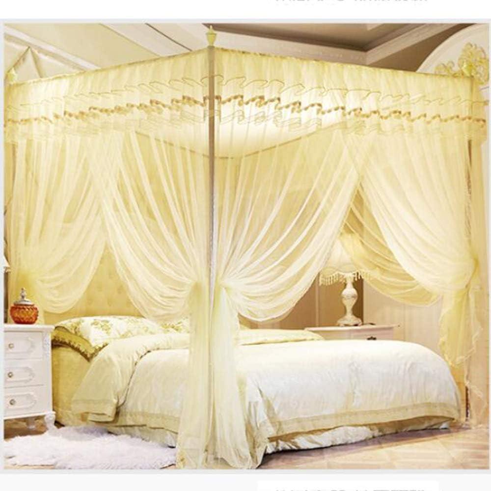 姫ベッドキャノピー,女の子のための4コーナーポストベッドカーテン ベッドルームの装飾のためのステンレス鋼のサポートが付いている3開口部の蚊のネット -イエロー