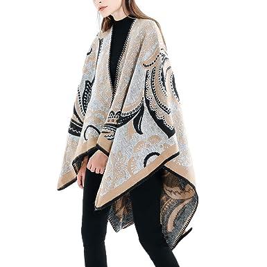 Sunenjoy Élégant Châle Cape Poncho Femme Faux Fourrure Cardigan Manche Chauve  Souris Enveloppant Coat Chaud Manteau d5422a886ff