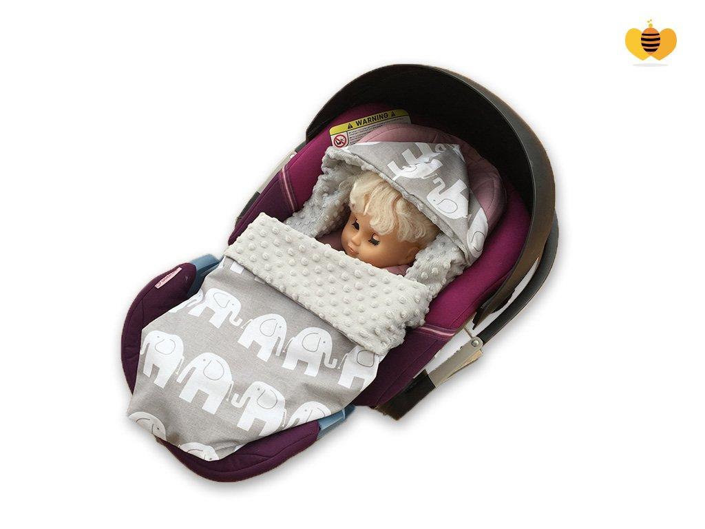 BABEES© Einschlagdecke MINKY Babyschale Autositz Decke [ELEFANTEN + GRAU] SELLIT