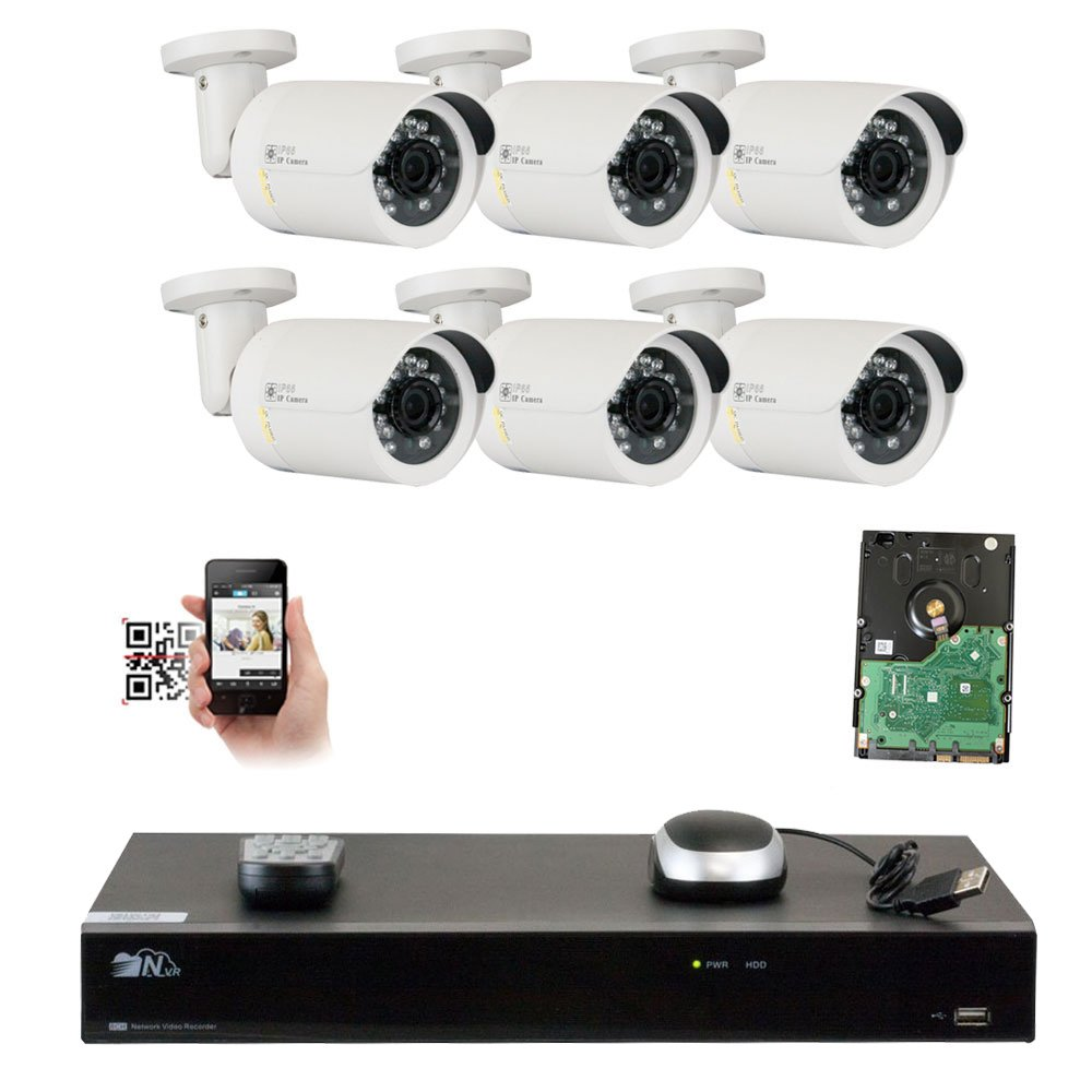 GW Security 8 Channel 4K NVR 5MP 1920P IP Camera Surveillance Video Security System – 6 x 5.0 Megapixel 2592 x 1920 Waterproof Bullet PoE Cameras, Quick QR Code Easy Setup, Pre-Installed 2TB HDD