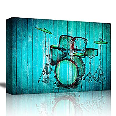 Hand Drawn Drums Over a Blue Wood Background - Canvas Art Home Art - 12x18 inches