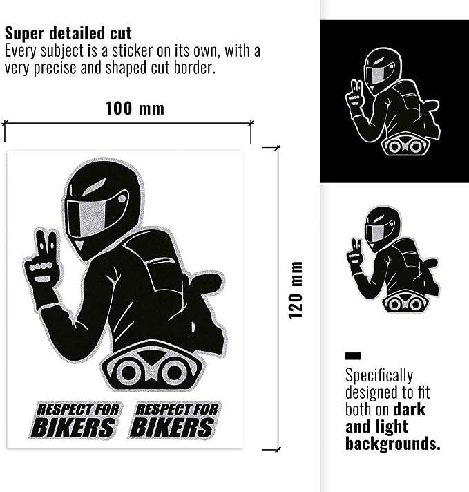 4r Quattroerre It 32104 Super Geformter Aufkleber Respect For Bikers 10 X 12 Cm Auto