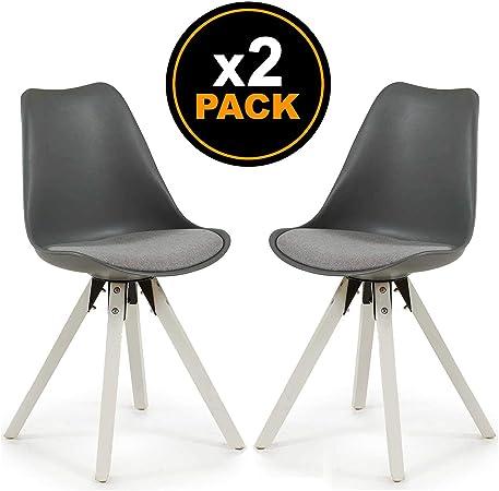 TENDENCIA UNICA Pack 2 sillas de Comedor UXIA en Color Gris de ...