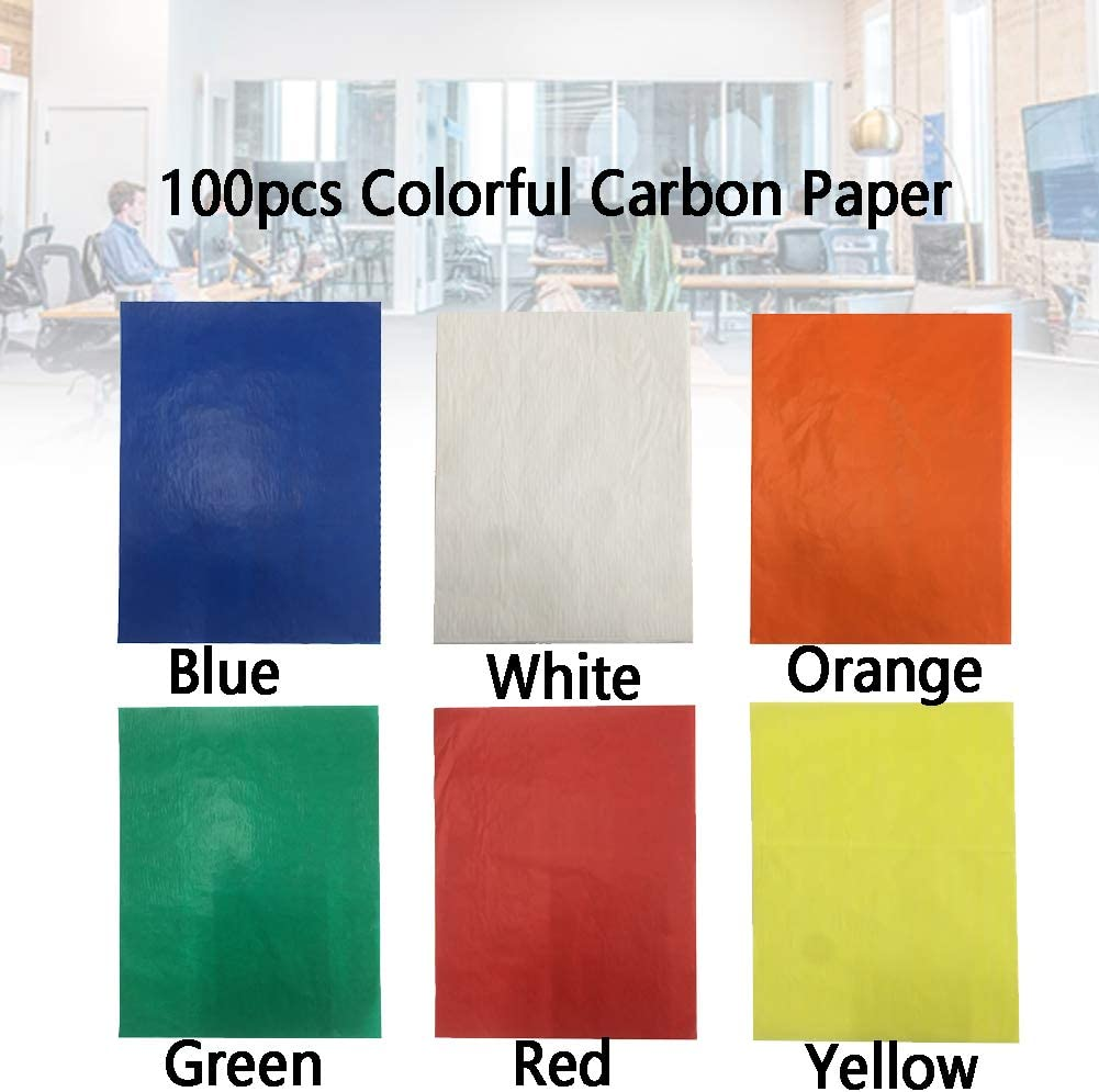 100 Sheets Carbon Transfer Paper Tracing Paper A4 Colorful Transfer Paper Tracing Graphite Copy Paper for Wood Paper Canvas