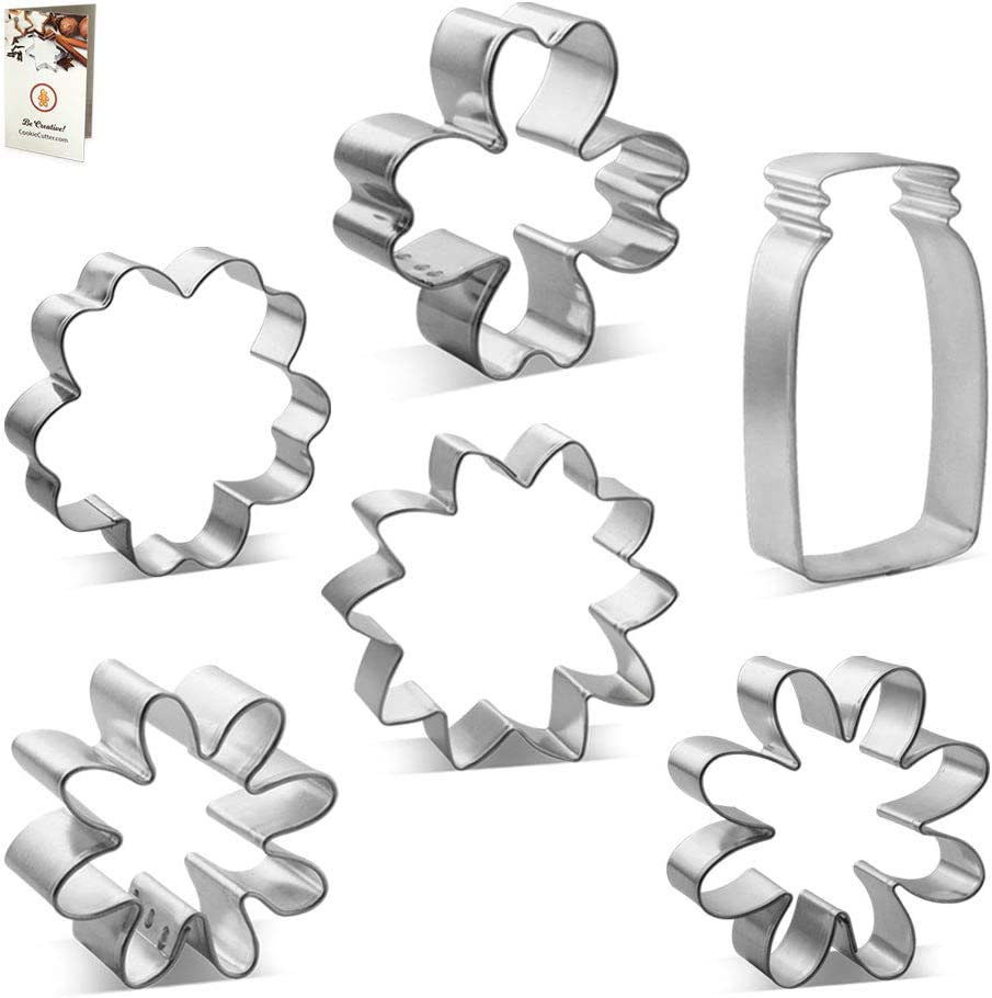 Mother's Day Cookie Cutter 6 Pc Set HS0453 - Flower Bouquet in a Mason Jar. Foose - USA