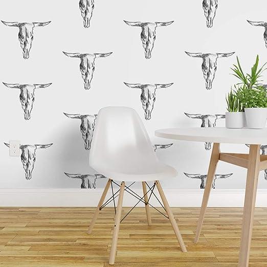 Spoonflower Non Pasted Wallpaper Cow Skull Black White Modern
